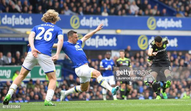 Pedro of Chelsea scores his sides first goal during the Premier League match between Everton and Chelsea at Goodison Park on April 30 2017 in...
