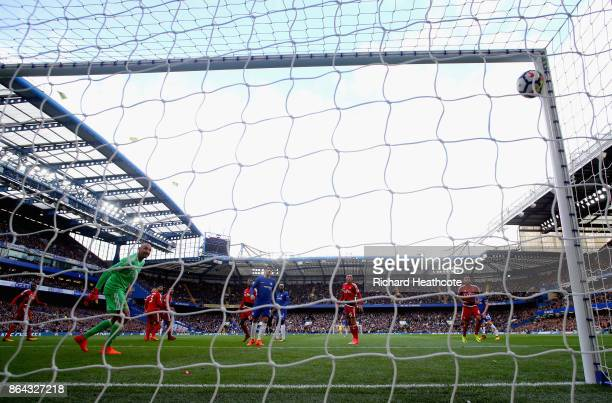 Pedro of Chelsea scores his sides first goal during the Premier League match between Chelsea and Watford at Stamford Bridge on October 21 2017 in...