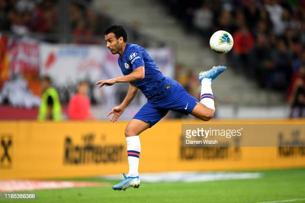 Pedro of Chelsea scores his sides fourth goal during the pre-season friendly match between RB Salzburg and FC Chelsea at Red Bull Arena on July 31,...