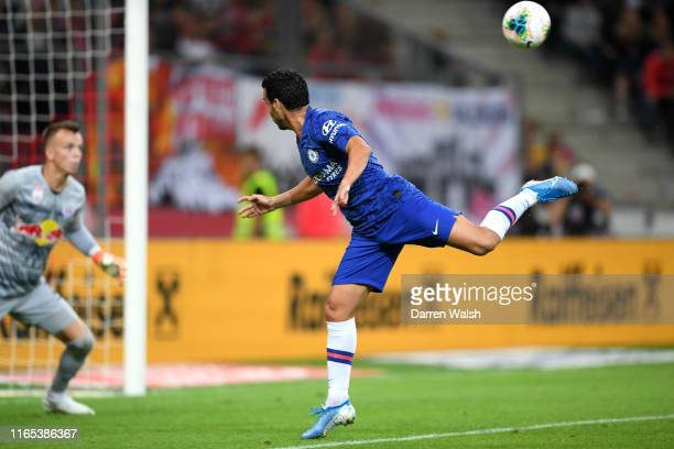 Pedro of Chelsea scores his sides fourth goal during the preseason friendly match between RB Salzburg and FC Chelsea at Red Bull Arena on July 31...
