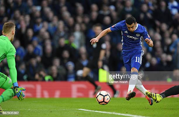 Pedro of Chelsea scores his sides second goal during the Emirates FA Cup Fourth Round match between Chelsea and Brentford at Stamford Bridge on...