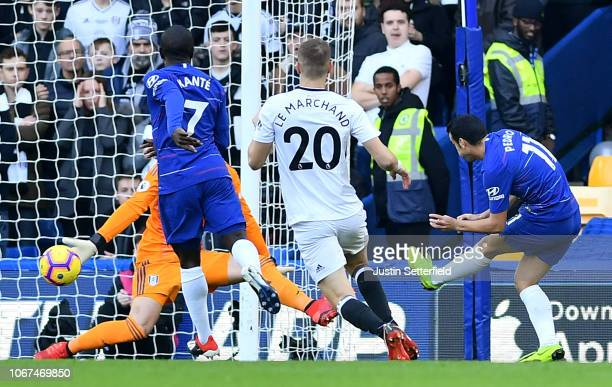 Pedro of Chelsea scores his team's first goal during the Premier League match between Chelsea FC and Fulham FC at Stamford Bridge on December 2 2018...