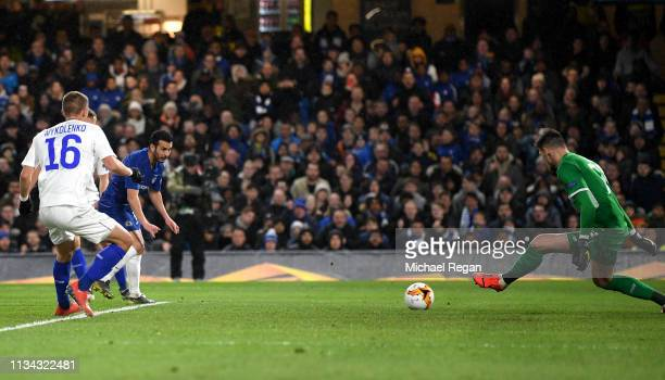 Pedro of Chelsea scores his team's first goal during the UEFA Europa League Round of 16 First Leg match between Chelsea and Dynamo Kyiv at Stamford...