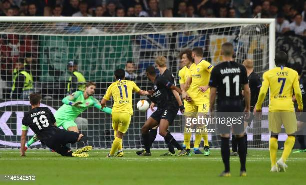 Pedro of Chelsea scores his team's first goal during the UEFA Europa League Semi Final First Leg match between Eintracht Frankfurt and Chelsea at...