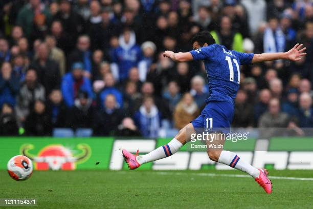 Pedro of Chelsea scores his team's second goal during the Premier League match between Chelsea FC and Everton FC at Stamford Bridge on March 08, 2020...