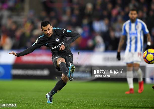 Pedro of Chelsea scores the 3rd Chelsea goal during the Premier League match between Huddersfield Town and Chelsea at John Smith's Stadium on...