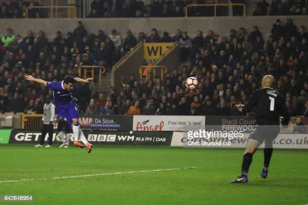 Pedro of Chelsea scores the opening goal during the Emirates FA Cup Fifth Round match between Wolverhampton Wanderers and Chelsea at Molineux on...