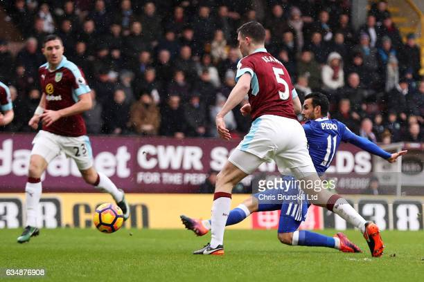 Pedro of Chelsea scores the opening goal during the Premier League match between Burnley and Chelsea at Turf Moor on February 12 2017 in Burnley...
