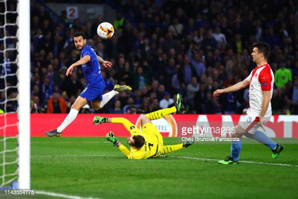 Pedro of Chelsea scores the opening goal during the UEFA Europa League Quarter Final Second Leg match between Chelsea and Slavia Praha at Stamford...
