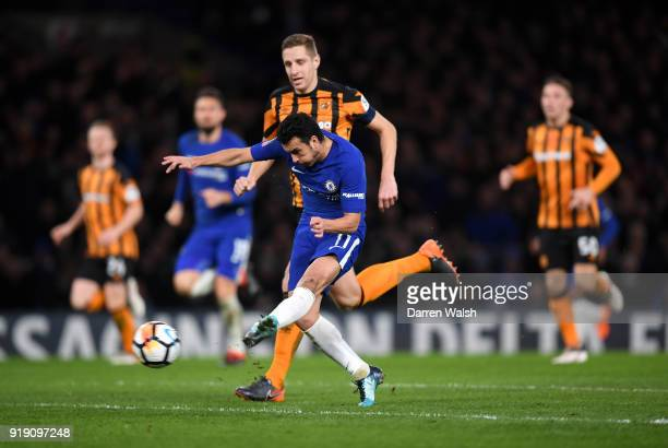 Pedro of Chelsea scores the second goal during the Emirates FA Cup Fifth Round match between Chelsea and Hull City at Stamford Bridge on February 16,...