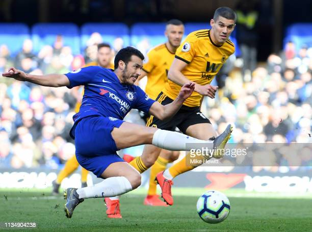 Pedro of Chelsea shoots during the Premier League match between Chelsea FC and Wolverhampton Wanderers at Stamford Bridge on March 10 2019 in London...