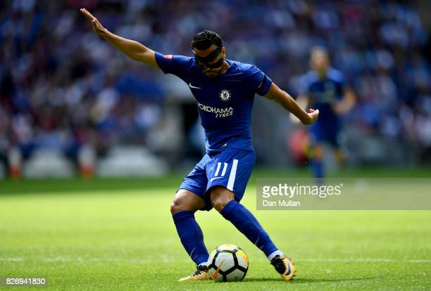 Pedro of Chelsea shoots during the The FA Community Shield final between Chelsea and Arsenal at Wembley Stadium on August 6 2017 in London England