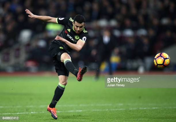 Pedro of Chelsea shoots on goal during the Premier League match between West Ham United and Chelsea at London Stadium on March 6 2017 in Stratford...