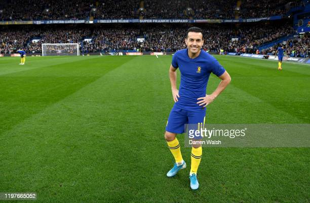Pedro of Chelsea smiles prior to the start of the second half during the FA Cup Third Round match between Chelsea and Nottingham Forest at Stamford...