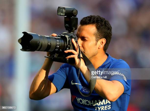Pedro of Chelsea takes a photo following The Emirates FA Cup Final between Chelsea and Manchester United at Wembley Stadium on May 19, 2018 in...