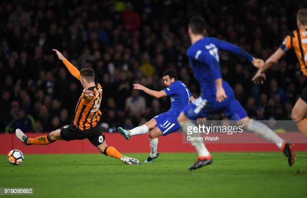 Pedro of Chelsea takes a shot at goal during the Emirates FA Cup Fifth Round match between Chelsea and Hull City at Stamford Bridge on February 16...