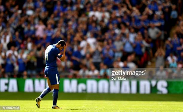 Pedro of Chelsea walks off after being sent off during the The FA Community Shield final between Chelsea and Arsenal at Wembley Stadium on August 6...