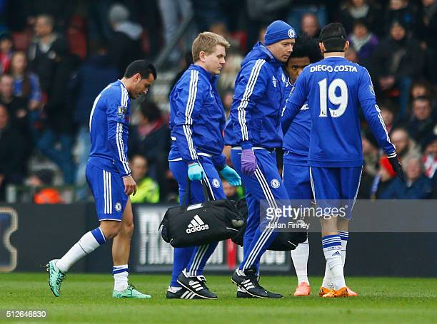 Pedro of Chelsea walks off the pitch after an injury during the Barclays Premier League match between Southampton and Chelsea at St Mary's Stadium on...