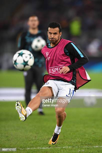 Pedro of Chelsea warms up prior to the UEFA Champions League group C match between AS Roma and Chelsea FC at Stadio Olimpico on October 31 2017 in...