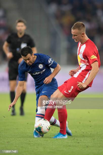 Pedro of FC Chelsea and Jasper van der Werff of FC Red Bull Salzburg during the preseason friendly match between RB Salzburg and FC Chelsea at Red...