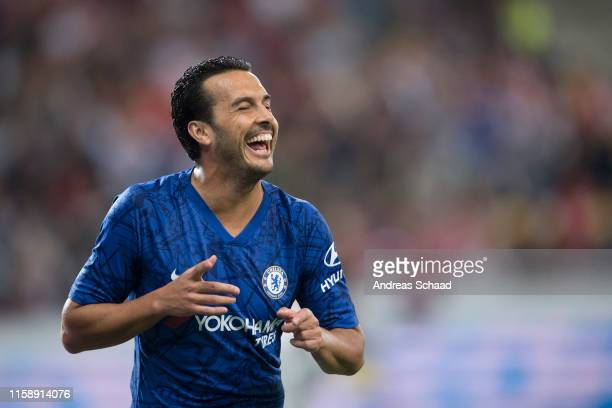 Pedro of FC Chelsea celebrates after scoring on the goal for 1:4 during the pre-season friendly match between RB Salzburg and FC Chelsea at Red Bull...