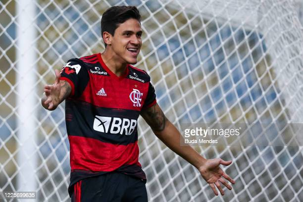 Pedro of Flamengo celebrates after scoring the first goal of his team during the match between Flamengo and Fluminense as part of the Taca Rio the...