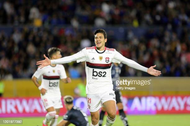 Pedro of Flamengo celebrates after scoring the second goal of his team during the first leg between Independiente del Valle and Flamengo as part of...