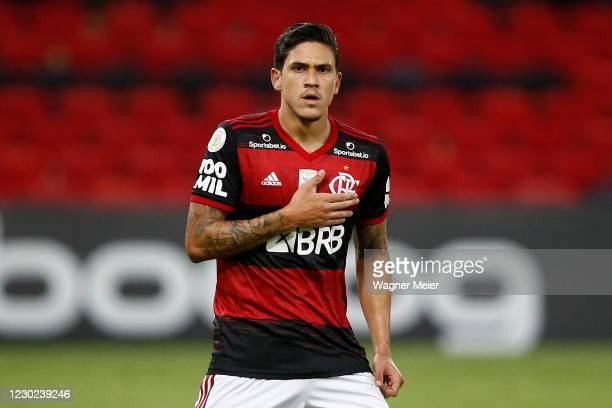 Pedro of Flamengo celebrates his goal during a match between Flamengo and Bahia as part of 2020 Brasileirao Series A at Maracana Stadium on December...