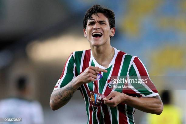 Pedro of Fluminense celebrates victory against Palmeiras during a match between Fluminense and Palmeiras as part of Brasileirao Series A 2018 at...