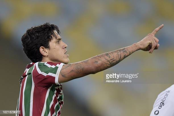 Pedro of Fluminense reacts during the match between Fluminense and Corinthians as part of Brasileirao Series A 2018 at Maracana Stadium on August 22...