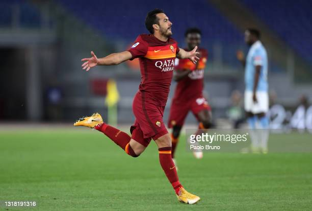 Pedro of Roma celebrates after scoring his team's second goal during the Serie A match between AS Roma and SS Lazio at Stadio Olimpico on May 15,...