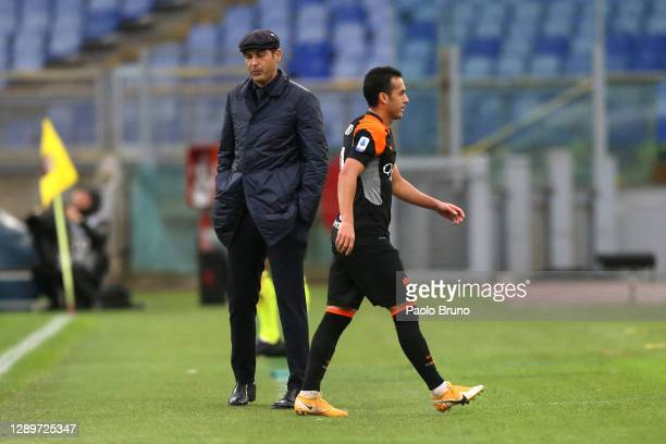 Pedro of Roma leaves the pitch after being sent off after being shown a second yellow card during the Serie A match between AS Roma and US Sassuolo...