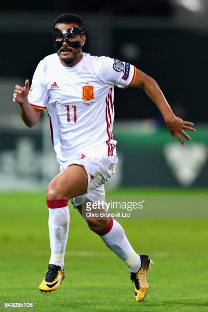Pedro of Spain in action during the FIFA 2018 World Cup Qualifier between Liechtenstein and Spain at Rheinpark Stadion on September 5, 2017 in Vaduz,...