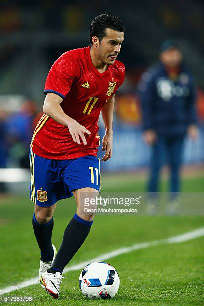 Pedro of Spain in action during the International Friendly match between Romania and Spain held at the Cluj Arena on March 27 2016 in ClujNapoca...