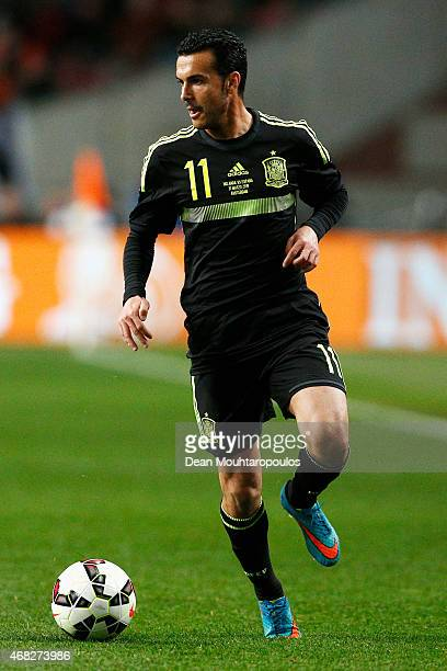 Pedro of Spain in action during the international friendly match between the Netherlands and Spain held at Amsterdam Arena on March 31 2015 in...