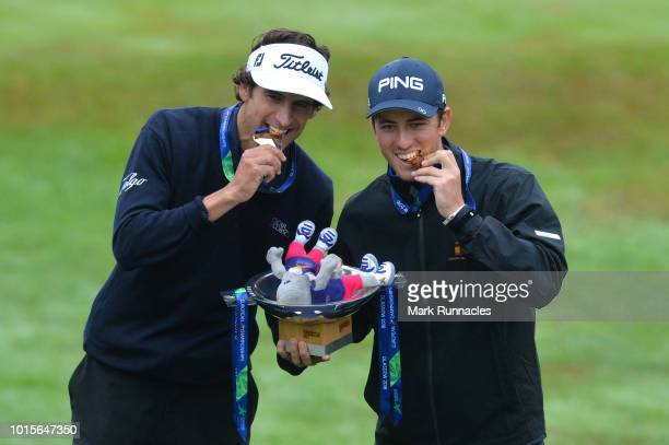 Pedro Oriol and Scott Fernandez of Spain 1 celebrate with their gold medals during the team competition men foursomes gold medal match between...