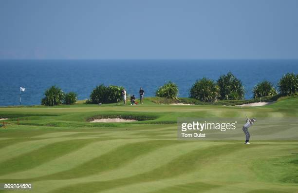 Pedro Oriol of Spain plays a shot on the 9th hole on Day Two of the NBO Golf Classic Grand Final European Challenge Tour at Al Mouj Golf on November...