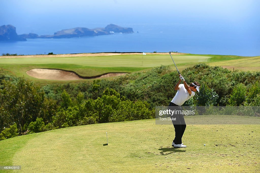 Pedro Oriol of Spain tees off from the 4th hole during day three of the Madeira Islands Open - Portugal - BPI at Club de Golf do Santo da Serra on August 1, 2015 in Funchal, Madeira, Portugal.