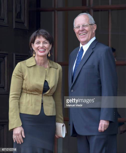 Pedro Pablo Kuczynski President of Peru and Doris Leuthard President of Switzerland pose for pictures during an official visit in order to sign...