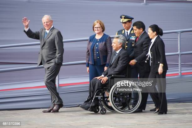 Pedro Pablo Kuczynski president of Peru and his wife Nancy Lange received Lenin Moreno the elected president of Ecuador