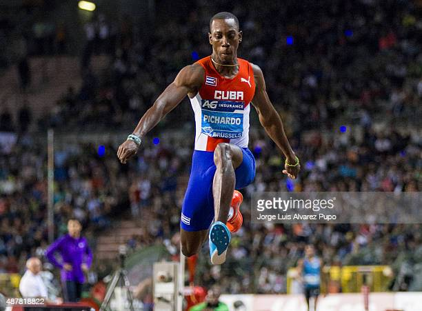 Pedro Pablo Pichardo of Cuba competes in the men's Triple Jump during the AG Insurance Memorial Van Damme as part of the IAAF Diamond League 2015 in...