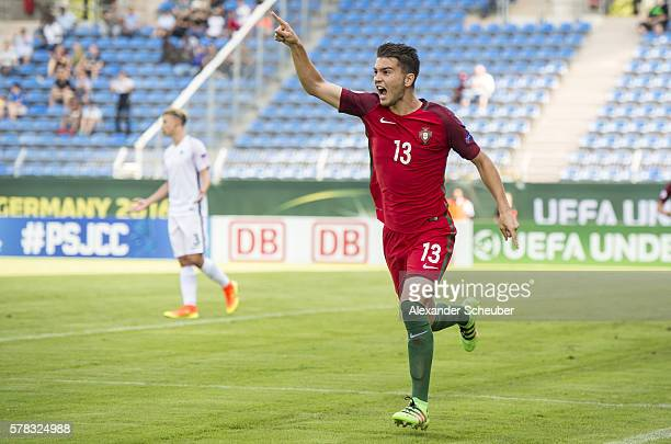 Pedro Pacheco of Portugal celebrates the first goal for his team during the U19 match between Portugal and France at CarlBenzStadium on July 21 2016...