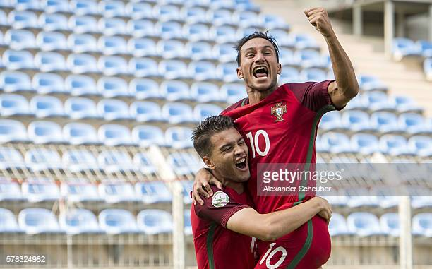Pedro Pacheco of Portugal celebrates the first goal for his team with Joao Carvalho of Portugal during the U19 match between Portugal and France at...