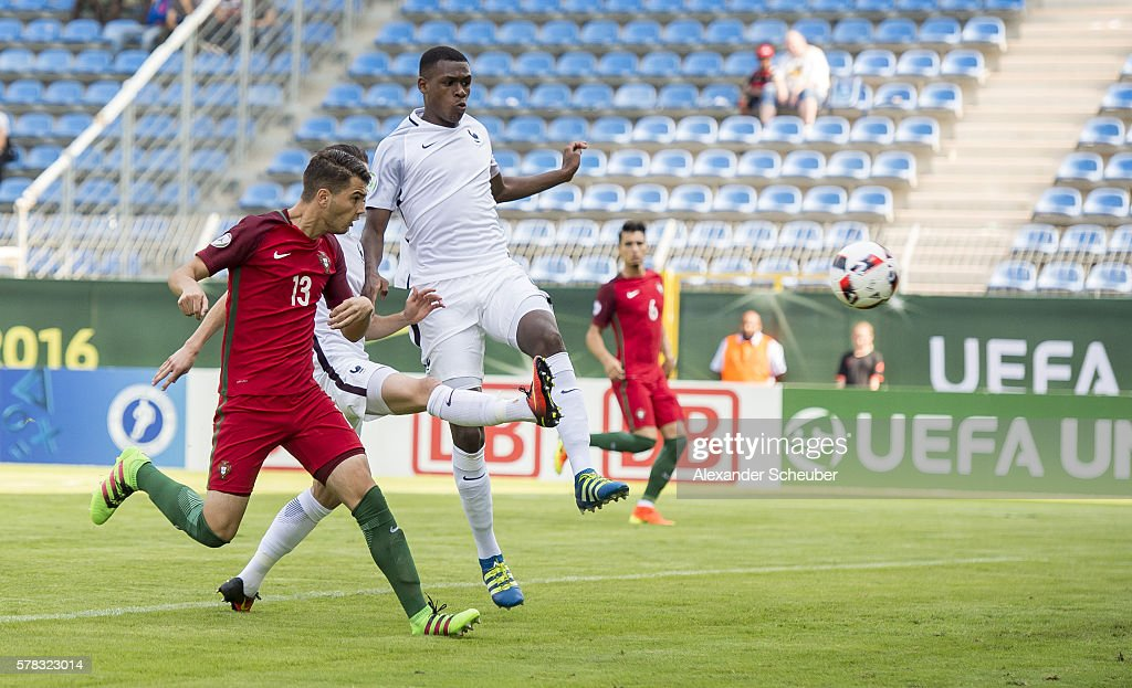 Pedro Pacheco of Portugal scores the first goal for his team during the U19 match between Portugal and France at Carl-Benz-Stadium on July 21, 2016 in Mannheim, Germany.