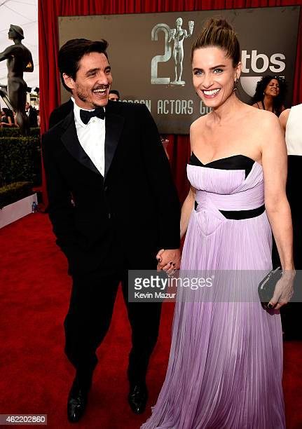 Pedro Pascal and Amanda Peet TNT's 21st Annual Screen Actors Guild Awards at The Shrine Auditorium on January 25 2015 in Los Angeles California...