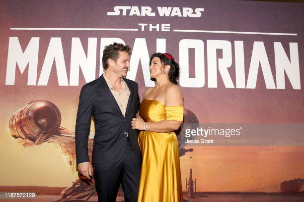 """Pedro Pascal and Gina Carano arrive at the premiere of Lucasfilm's first-ever, live-action series, """"The Mandalorian,"""" at the El Capitan Theatre in..."""