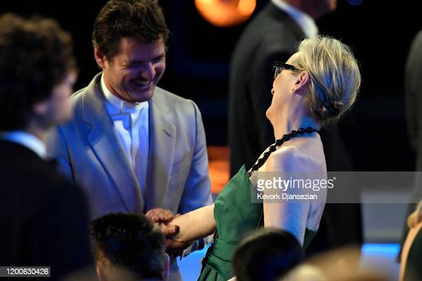 Pedro Pascal and Meryl Streep attend the 26th Annual Screen ActorsGuild Awards at The Shrine Auditorium on January 19 2020 in Los Angeles California...