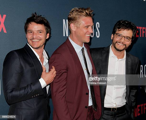 Pedro Pascal Boyd Holbrook and Wagner Moura attend the premiere of Netflix's 'Narcos' season 2 at ArcLight Cinemas on August 24 2016 in Hollywood...