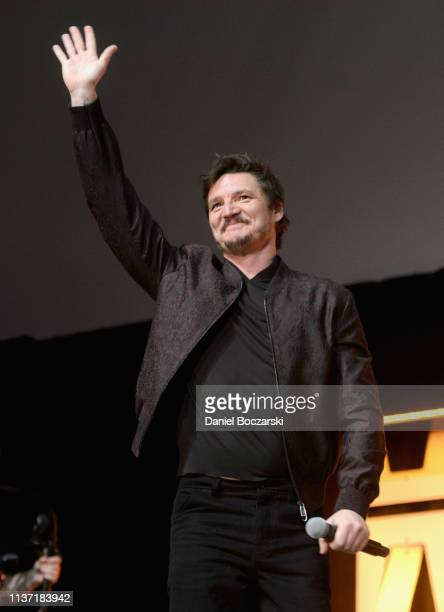 Pedro Pascal onstage during The Mandalorian panel at the Star Wars Celebration at McCormick Place Convention Center on April 14 2019 in Chicago...