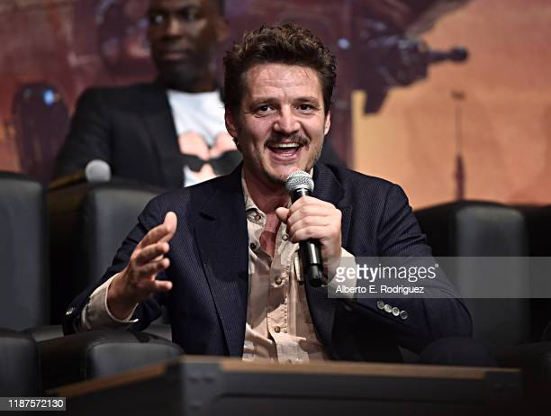 """Pedro Pascal speaks onstage at the premiere of Lucasfilm's first-ever, live-action series, """"The Mandalorian,"""" at the El Capitan Theatre in Hollywood,..."""